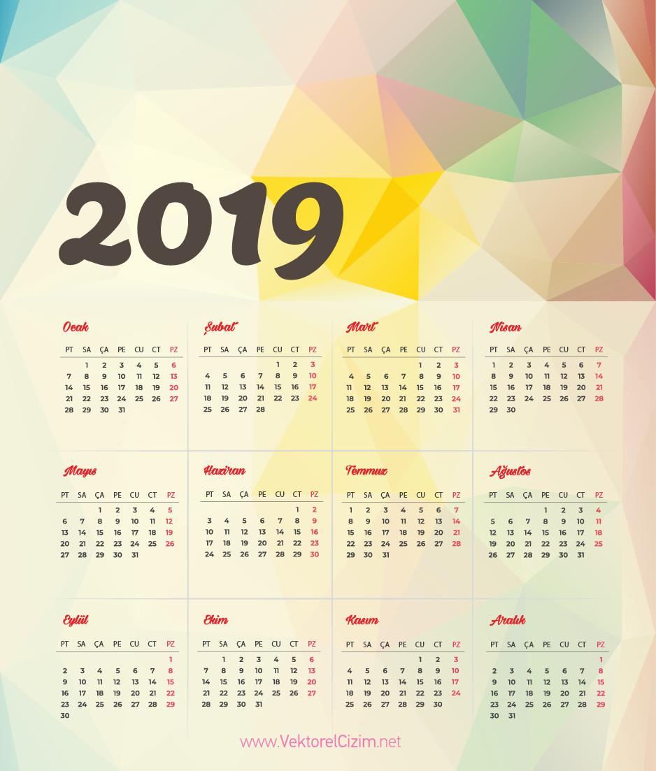 Vektörel çizim 2019 Takvimi