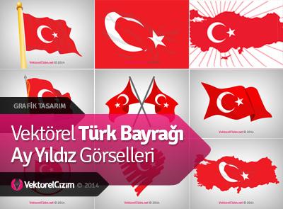 Vektörel Türk Bayrağı Görselleri