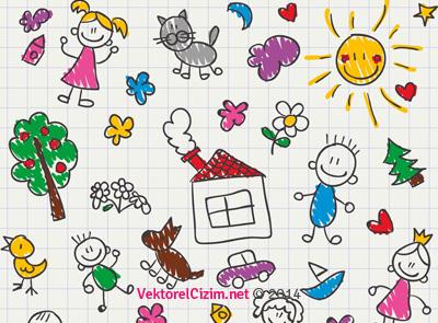 Çocuk Tarzı El Çizimi Resim